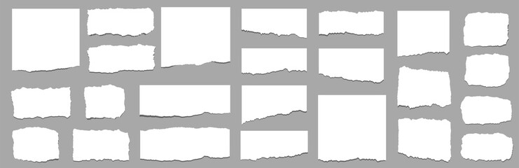 Torn sheets of paper. Torn paper strips set. Vector Fototapete