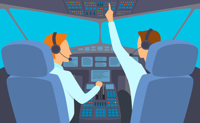 Cartoon Color Characters People and Airplane Cockpit Interior Inside Concept. Vector