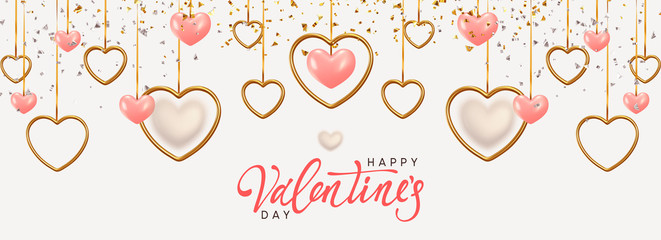 Happy Valentine's Day. Background with realistic metallic gold and pink hearts hanging on ribbon, falling glitter confetti. Greeting card, gift poster, holiday banner. Fotomurales