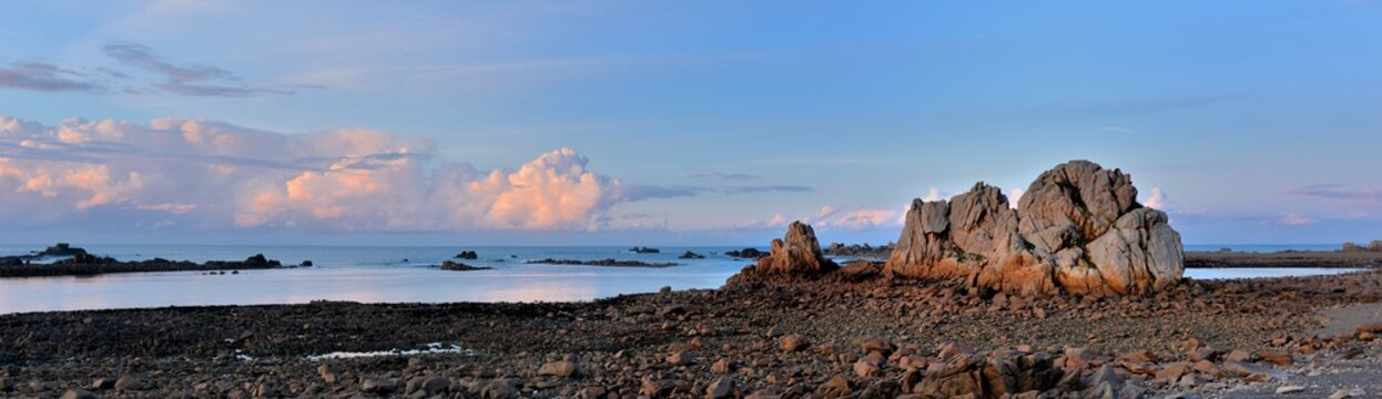 Sunset at low tide in Brittany. France