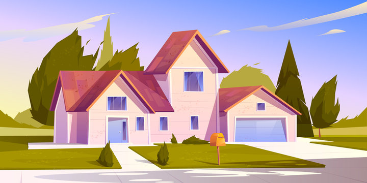 Suburban house, residential cottage, real estate countryside building exterior. Two storey dwelling place with garage. Home facade with garden and green lawn in front yard. Cartoon vector illustration