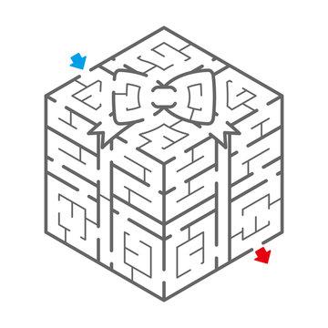 ギフトボックスのアイソメトリック迷路(塗り絵)