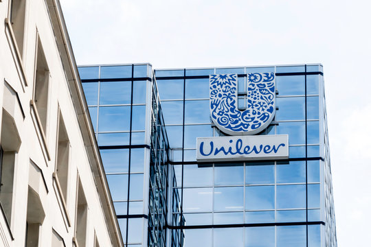 Sign on the Unilever Canada head office building on July 31, 2019 in Toronto, canada.