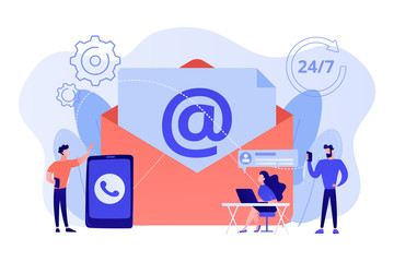 Email marketing, Internet chatting, 24 hours support. Get in touch, initiate contact, contact us, feedback online form, talk to customers concept. Pink coral blue vector isolated illustration