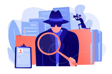 Fototapeta Secret agent searching clues and spying investigating case. Private investigation, private detective agency, private investigator services concept. Pink coral blue vector isolated illustration obraz