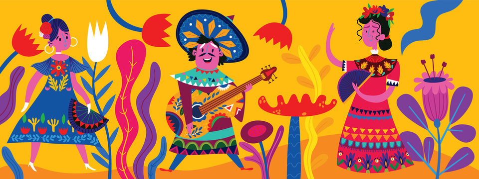 Mexican modern banner with mexican characters in flat hand drawn style. Part 1.Characters for celebration, national patterns,fiesta and decoration