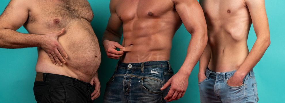Fat, muscular and thin. Different bodies. Before and after diet and workout. Weight loss and weight gain. Fat, muscular and thin mans. Fat percentage.