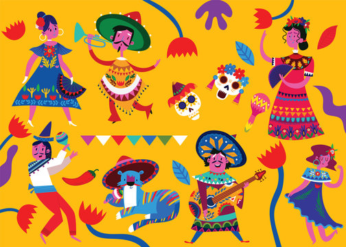 Mexican vector set of mexican characters in flat hand drawn style. Characters for celebration, national patterns,fiesta and decoration