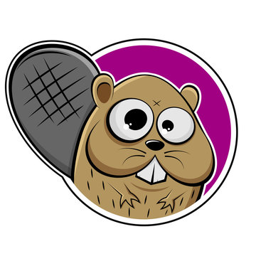 funny cartoon illustration of a beaver in a badge