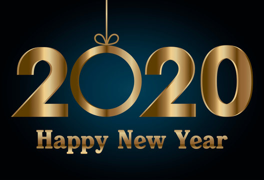 Happy new year 2020 and sphere vector design