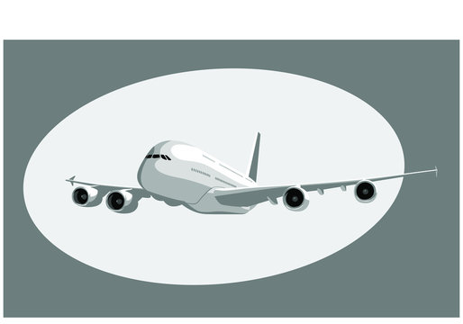 Airbus A380. Flying airplane, takeoff airliner, commercial jet aircraft, airliner. Vector illustration. Vector template.