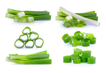 green onion slice on white background Wall mural