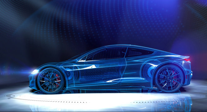 Wireframe of sports car in dark environment (3D Illustration)