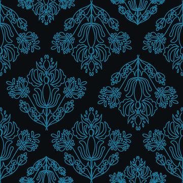 Elegant Damask Floral Vector Seamless Pattern. Decorative Flower Illustration. Abstract Art Deco Background. Pantone 2020 classic blue.