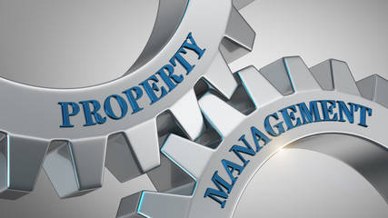 Property management concept. Words property management written on gear wheels.