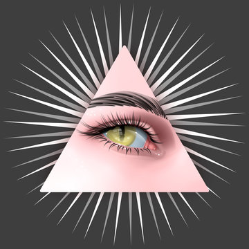 Vector illustration with a Reptilian Human eyes with all seeing eye symbol. Conspiracy theory Reptiloid paranormal surreal illustrations