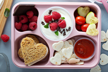 Valentines day lunch for kids with heart shaped sandwich