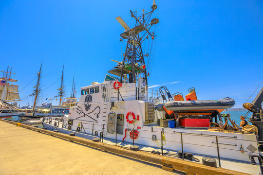 San Diego, California, UNITED STATES - August 1, 2018: cutter of the Sea Shepherd Conservation Society, against whaling and illegal fisheries activities. Farley Mowat ship in San Diego Navy Pier.