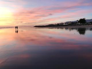 Fond de hotte en verre imprimé Prune sunset on lake
