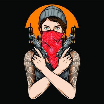 gangster girl holding gun vector