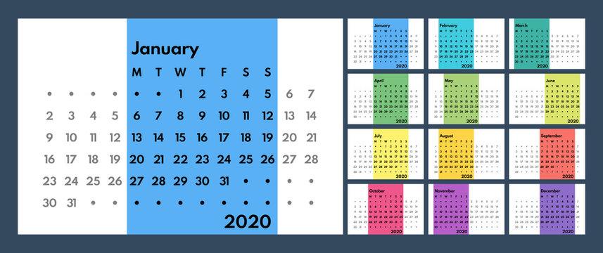 2020 perpetual style calendar vector template