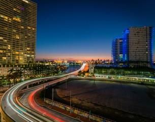 city miami night sunset lighting lights traffic circulation highway building auto dusk