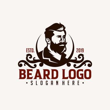 Barber shop vintage design logo template
