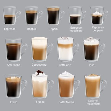 Coffee types set, vector realistic isolated illustration