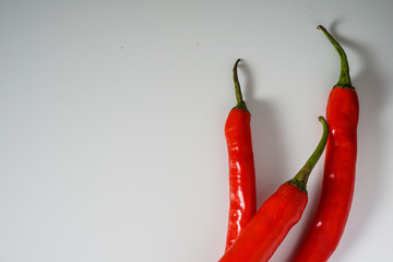 Canvas Prints Hot chili peppers Top view of red hot chili pepper over white background.