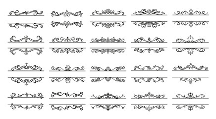 Invite Ornamental curls, swirls divider and filigree ornaments vector design collection for wedding invitation and calligraphy decoration.