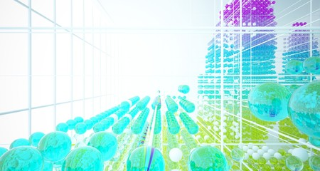 Abstract white interior from array colored gradient glasses spheres with large window. 3D illustration and rendering. Fotoväggar
