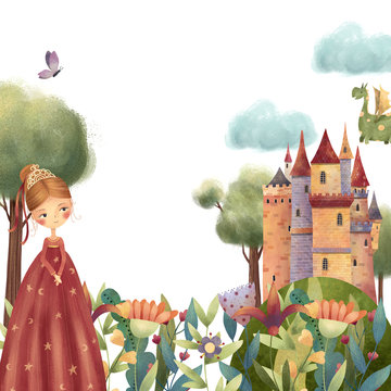Beautiful princess with fantasy flowers, dragon and castle. Hand drawn illustration.