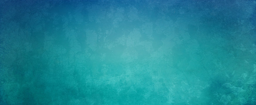 Abstract blue green background with soft bright center glowing with light center and dark blue border with old vintage grunge texture