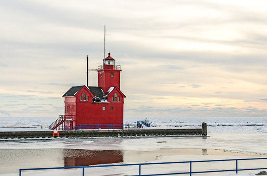 Lighthouse Known as Big Red in Holland Michigan