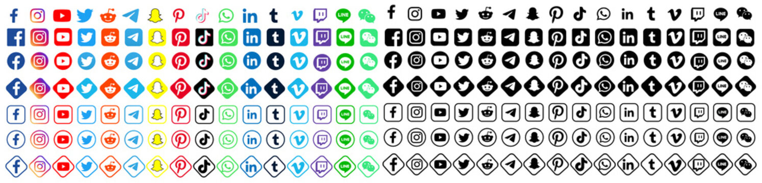 Facebook, twitter, instagram, youtube, reddit,telegram,snapchat, pinterest, tiktok logo.. Facebook, twitter, instagram, youtube, reddit,telegram,snapchat, pinterest, tiktok sign