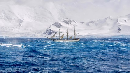 In de dag Antarctica Extreme sailing conditions in Antarctica, as a three masted schooner sails south in a gale, passing the snow-capped mountains and glaciers of the South Shetland Islands.