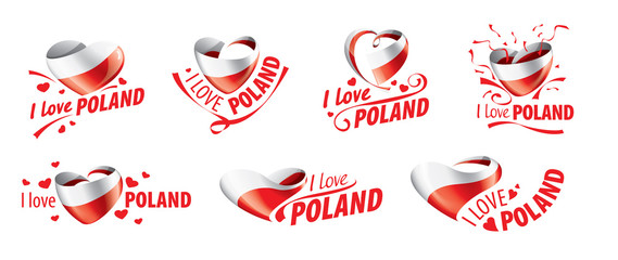The national flag of the Poland and the inscription I love Poland. Vector illustration Wall mural
