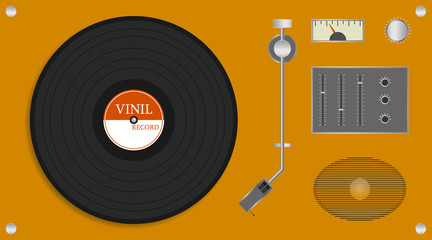 Fototapeta Vintage vinyl record player. Realistic yellow record player with audio speaker and vinyl disc. Vector illustration of a record. obraz