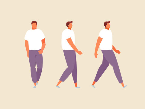 Walking man front and side view illustration. Vector flat set