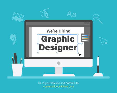 We are hiring graphic designer. Staffing & recruiting business concept
