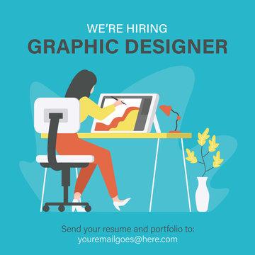 We are hiring graphic designer, creative people, artist. Illustration of woman designer