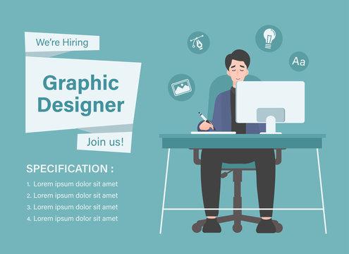 We are hiring graphic designer. Illustration of creative designer working on computer