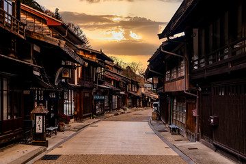Narai-juku, Japan. Picturesque view of old Japanese town with traditional wooden architecture. Narai-juku post town in Kiso Valley, Japan Fototapete