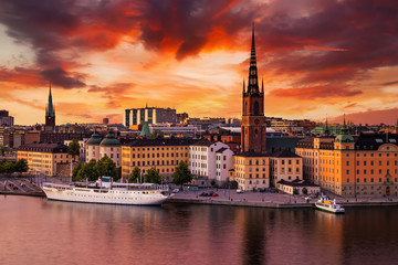 Türaufkleber Stockholm Scenic panoramic view of Gamla Stan, in the Old Town in Stockholm at sunset, capital of Sweden