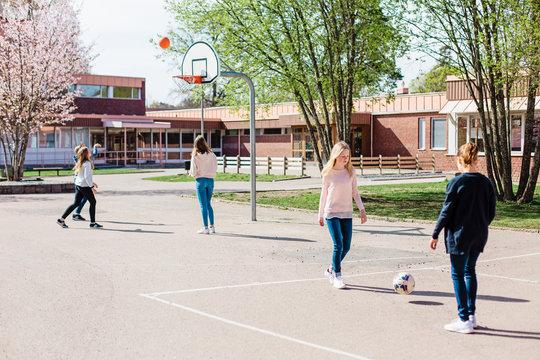 Kids on school courtyard