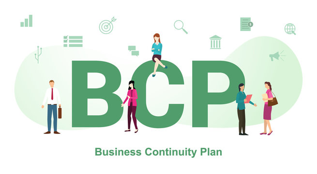 bcp concept with big word or text and team people with modern flat style - vector