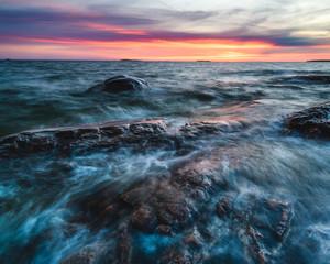 Long exposure shot of coast