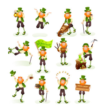 Funny Irish fantastic character, gnome leprechaun cartoon vector