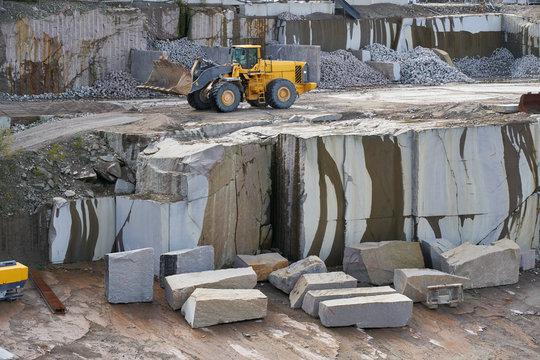 Bulldozer in quarry