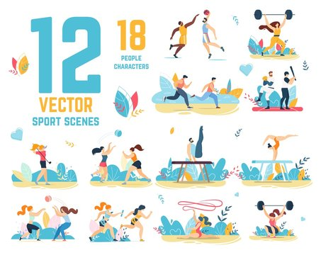 Sport Scenes Vector Set with People Characters
